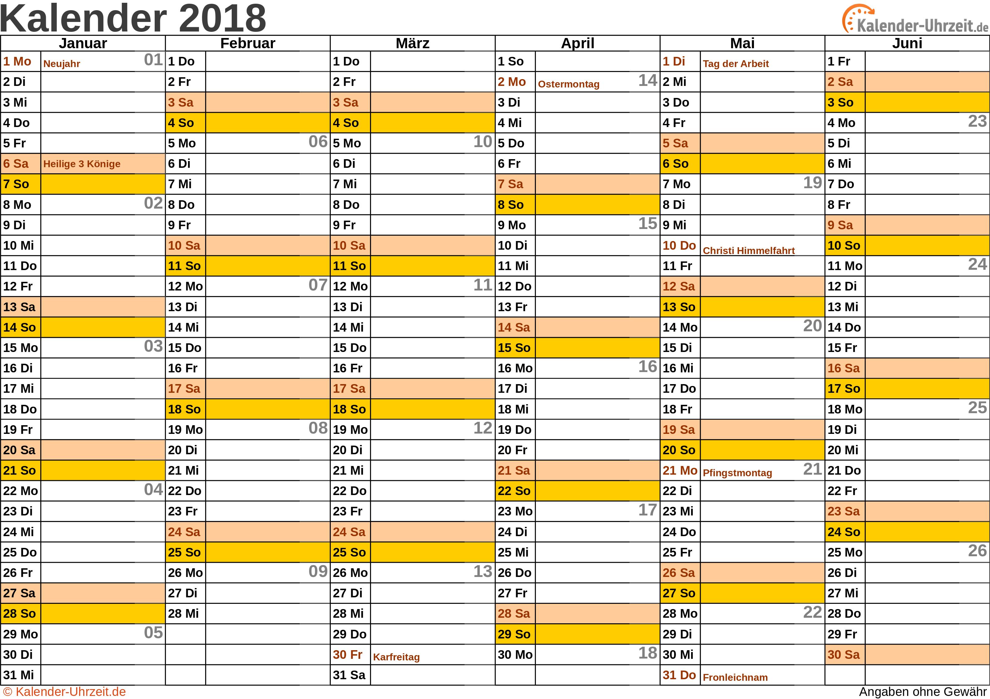 Halbjahreskalender 2018 - Excel-Vorlage 1 Vorschau