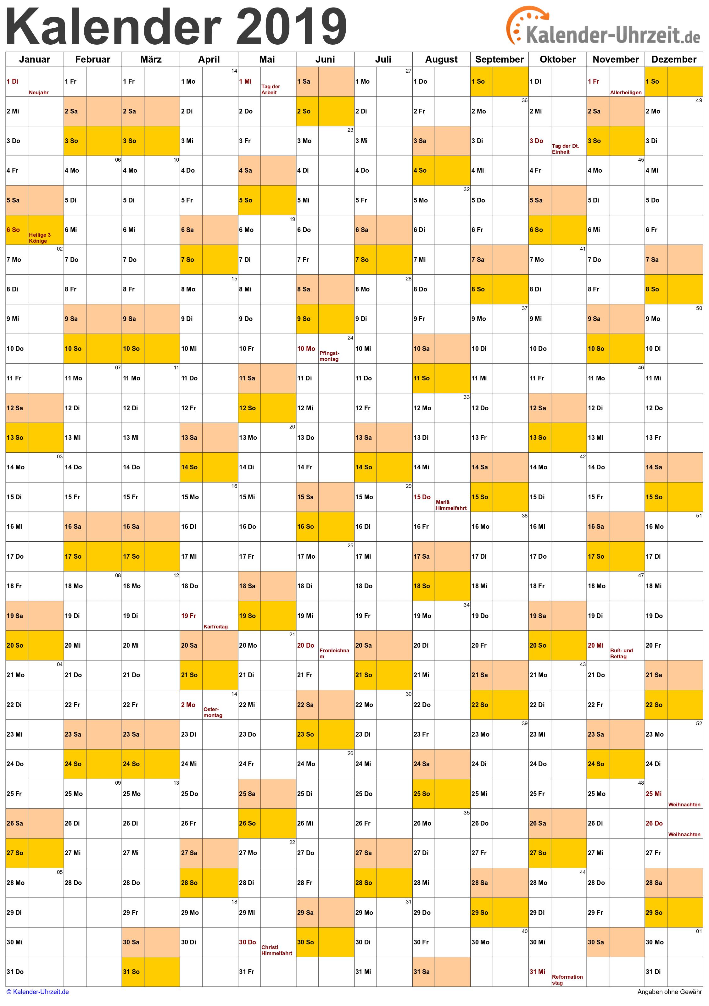 Jahreskalender 2019 A4-Hochformat V1 Vorschau