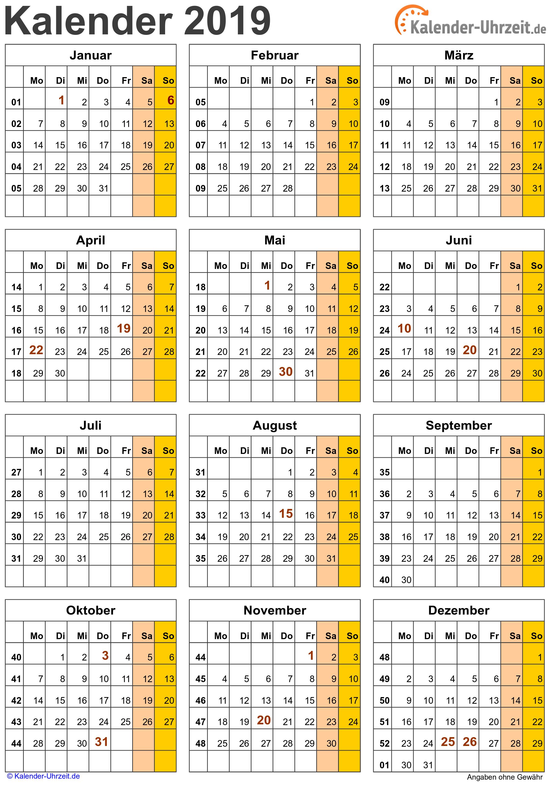 Jahreskalender 2019 A4-Hochformat V3 Vorschau