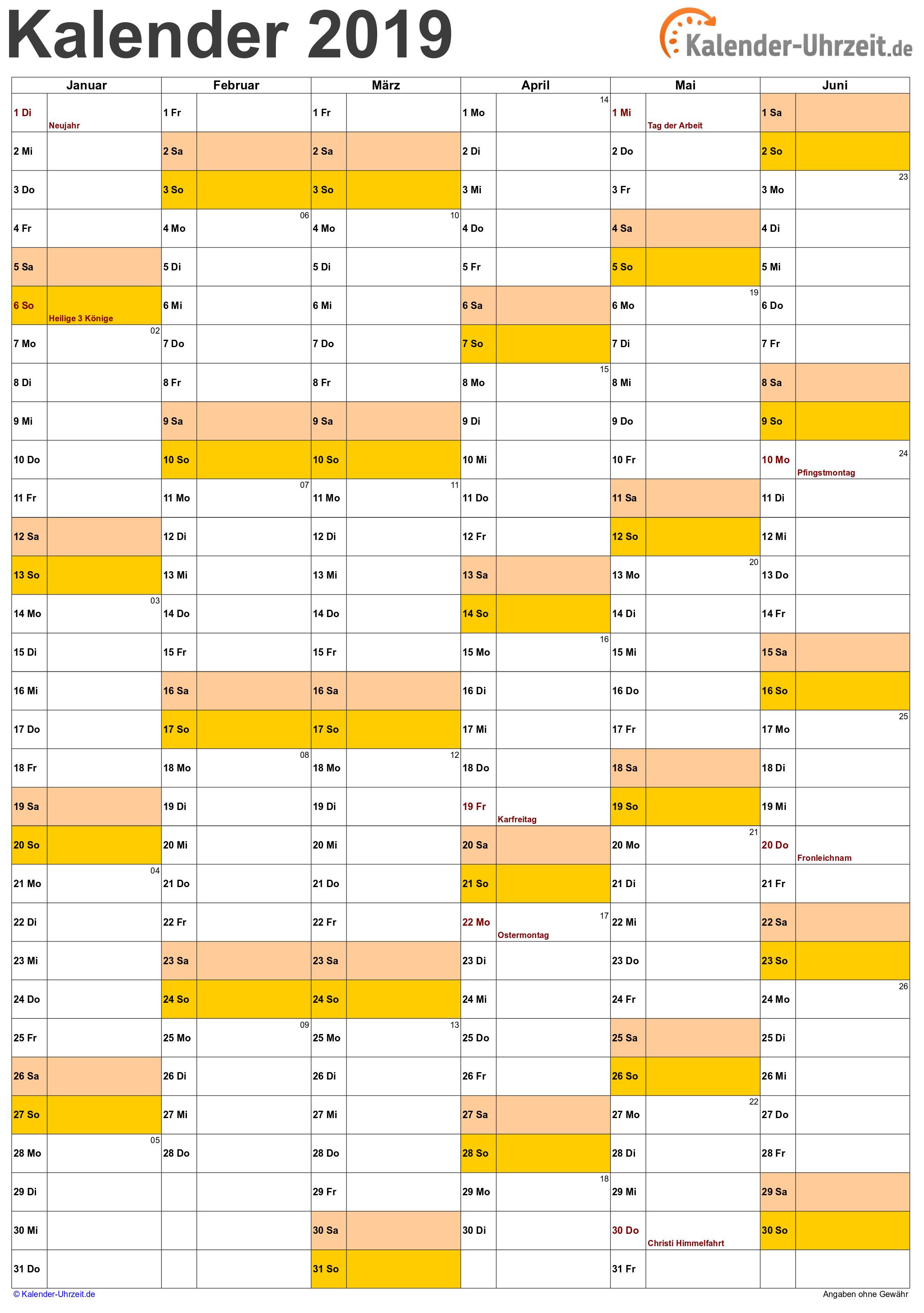 Halbjahreskalender 2019 A4-Hochformat Vorschau