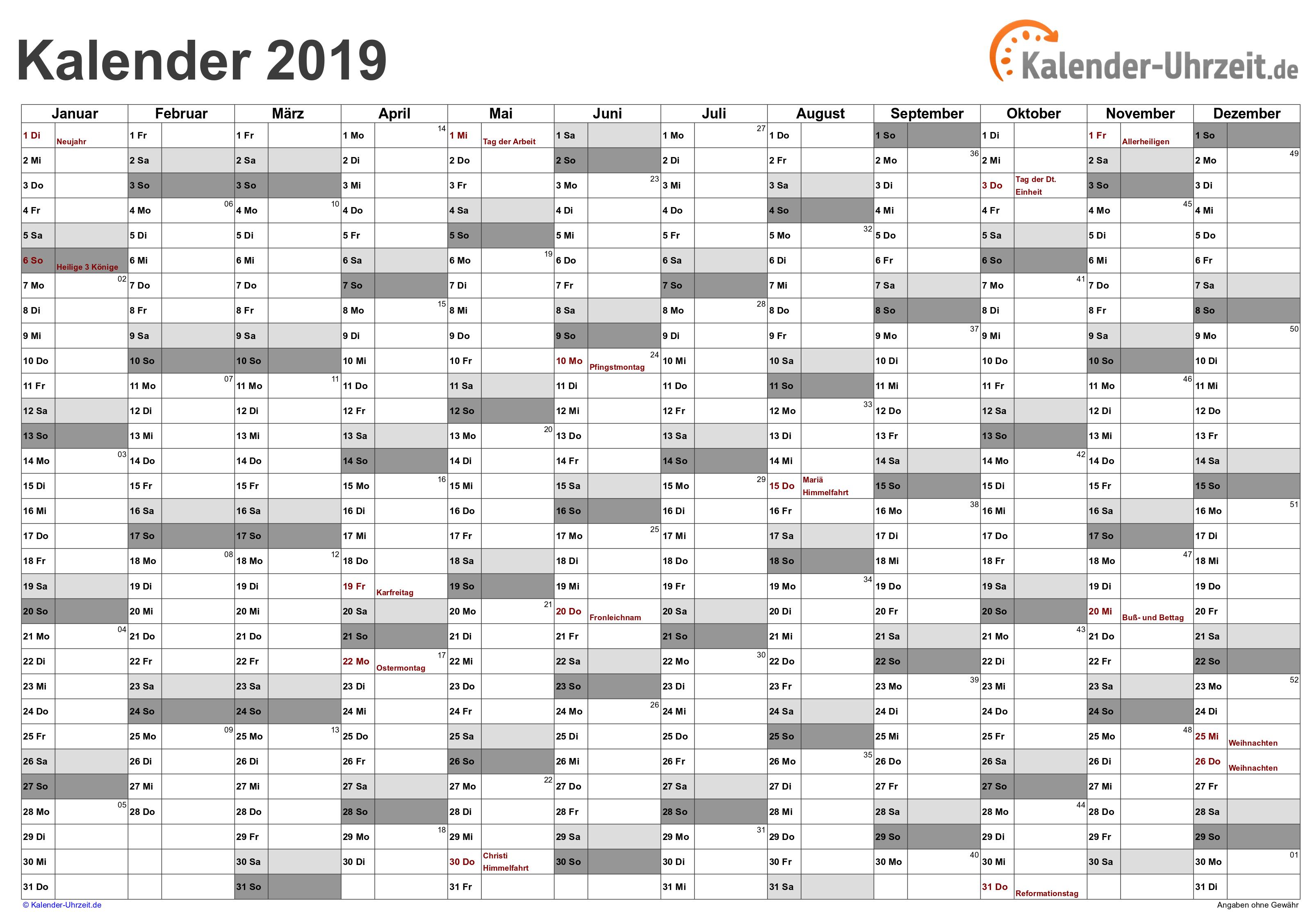EXCEL-KALENDER 2019 - KOSTENLOS