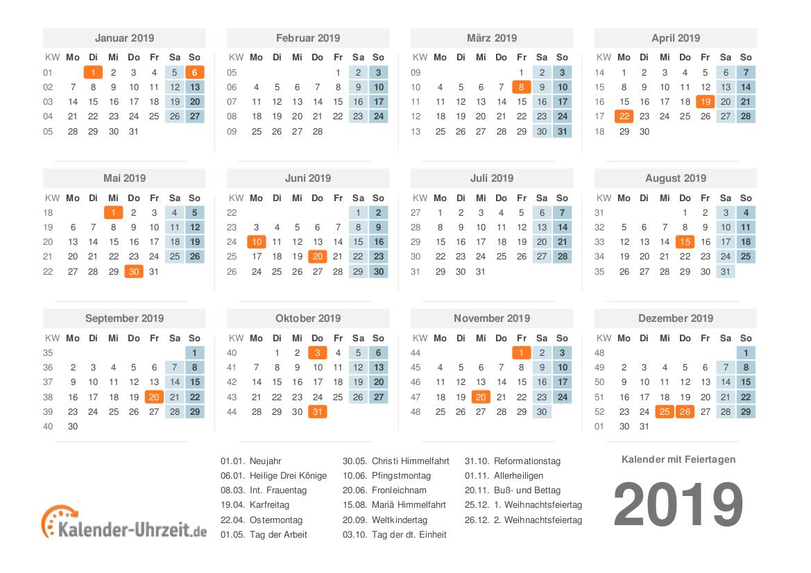 Kalender 2019 mit Feiertagen - PDF-Vorlage 1 Vorschau