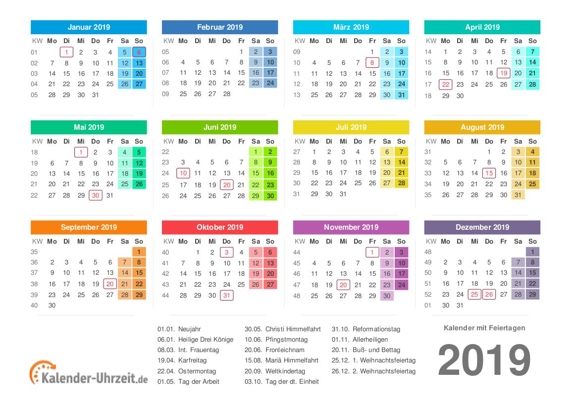 Kalender 2019 mit Feiertagen - PDF-Vorlage 2 Vorschau