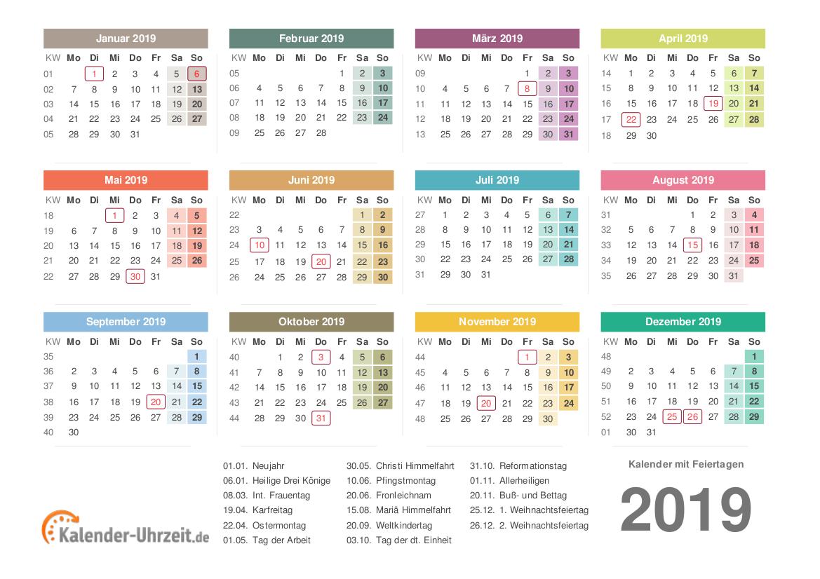Kalender 2019 mit Feiertagen - PDF-Vorlage 3 Vorschau