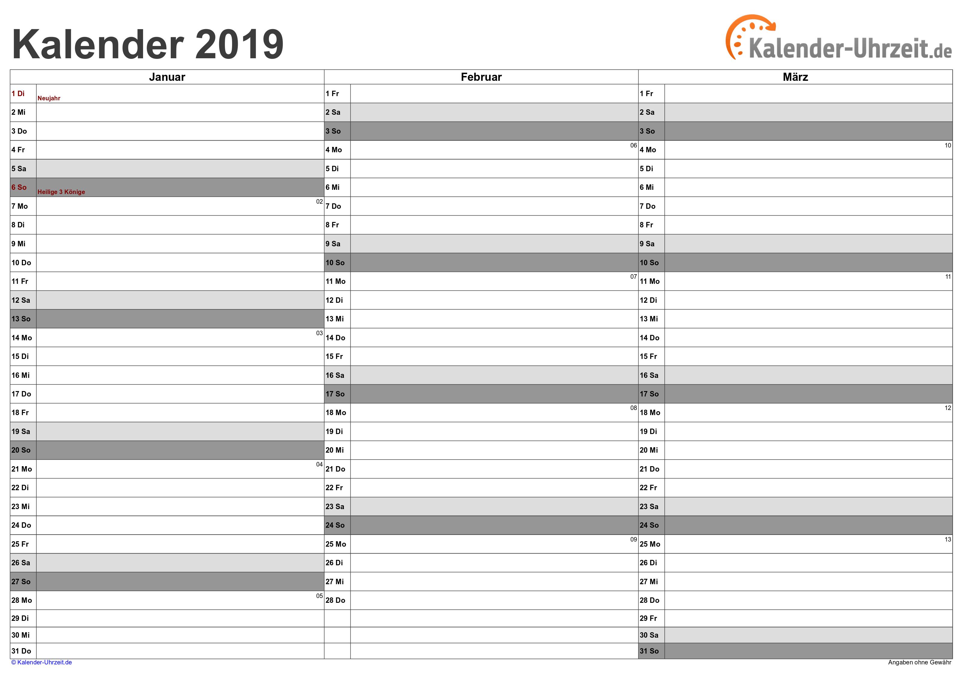 Quartalskalender 2019 - Excel-Vorlage 3 Vorschau