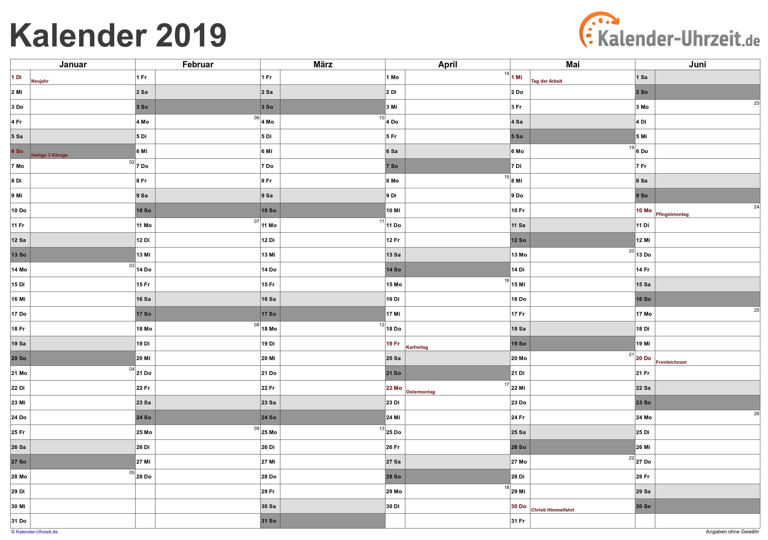 Halbjahreskalender 2019 - PDF-Vorlage 3 Vorschau