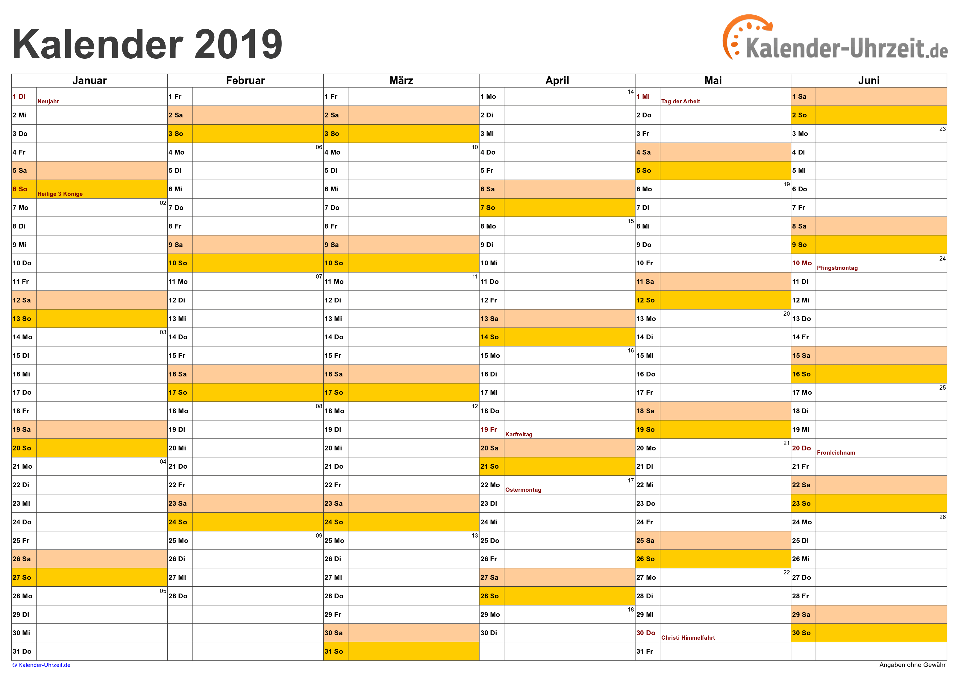 Halbjahreskalender 2019Vorlage