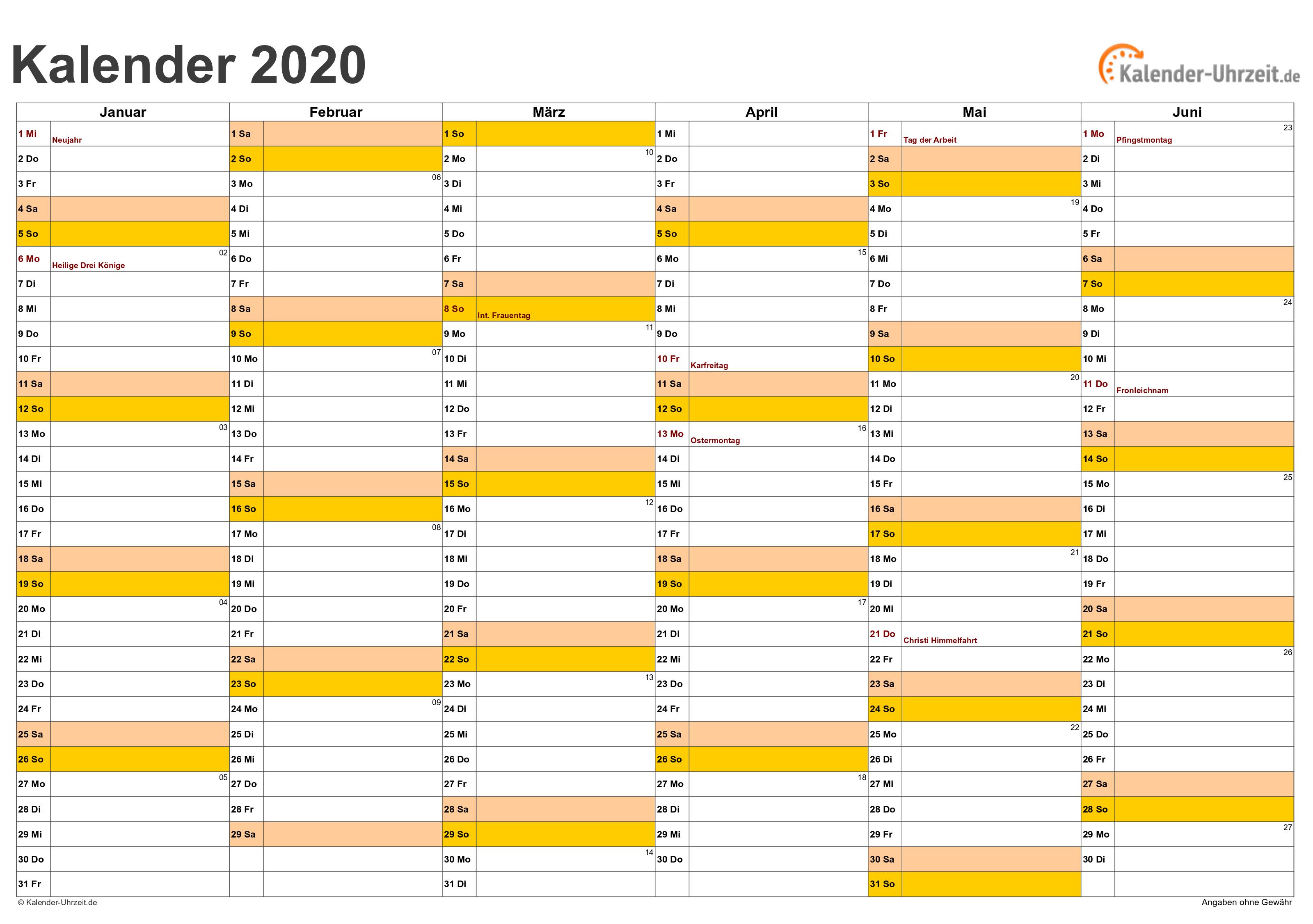 Halbjahreskalender 2020 - Excel-Vorlage 1 Vorschau