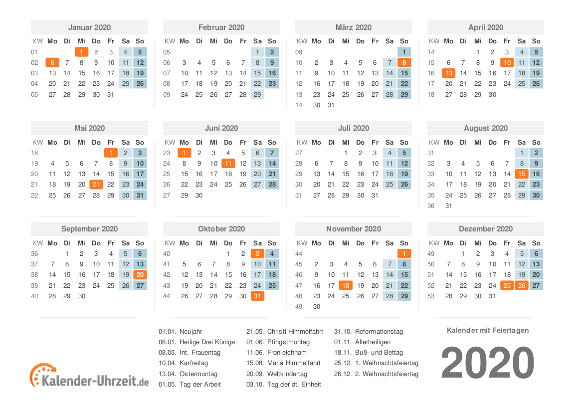 Kalender schulferien nrw 2020