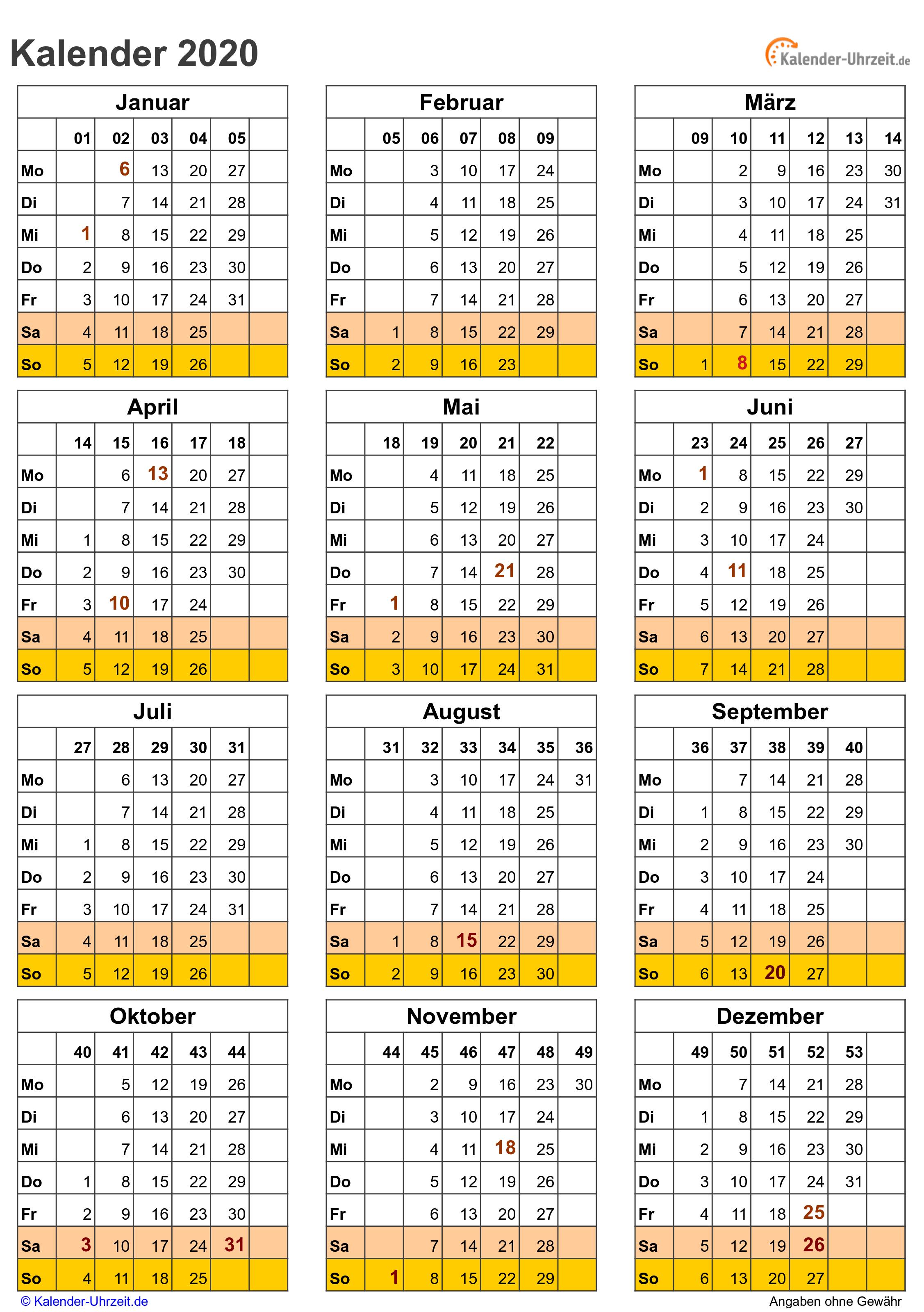 kalender 2020 kw