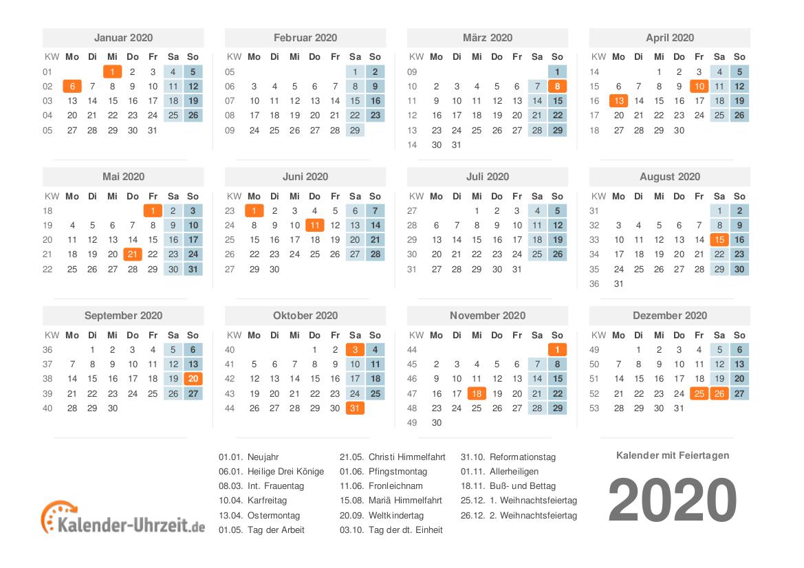 KALENDER 2020 ZUM AUSDRUCKEN - KOSTENLOS