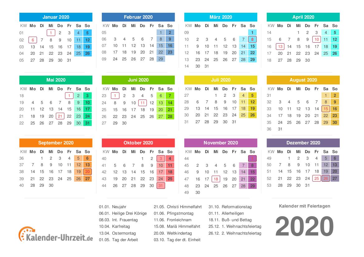 Kalender 20 mit Feiertagen
