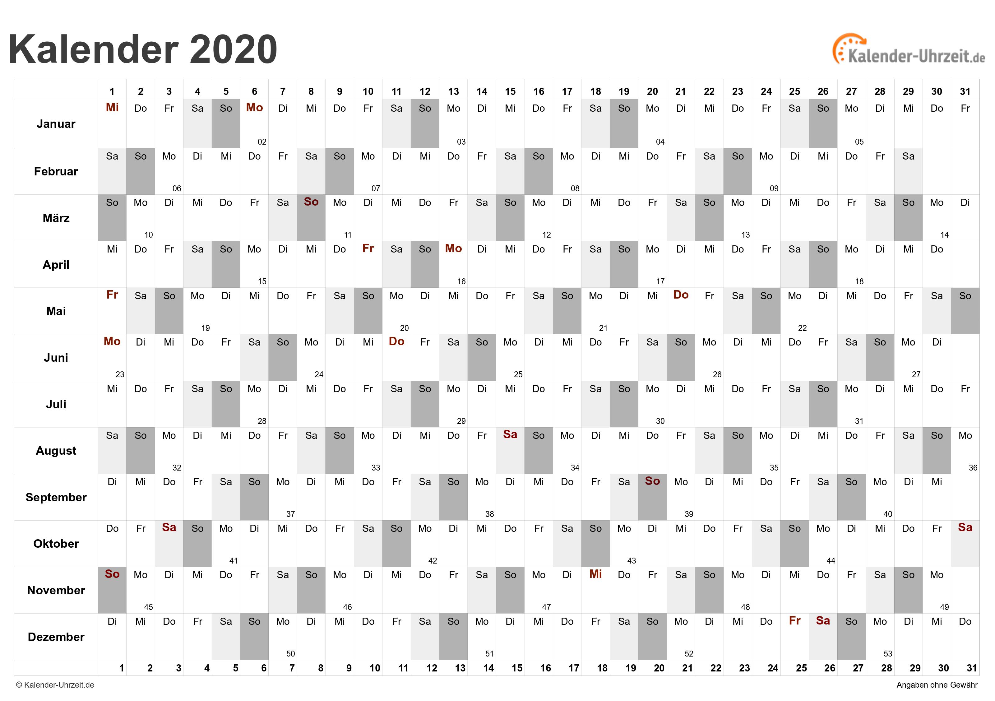 Excel Kalender 2020 Kostenlos