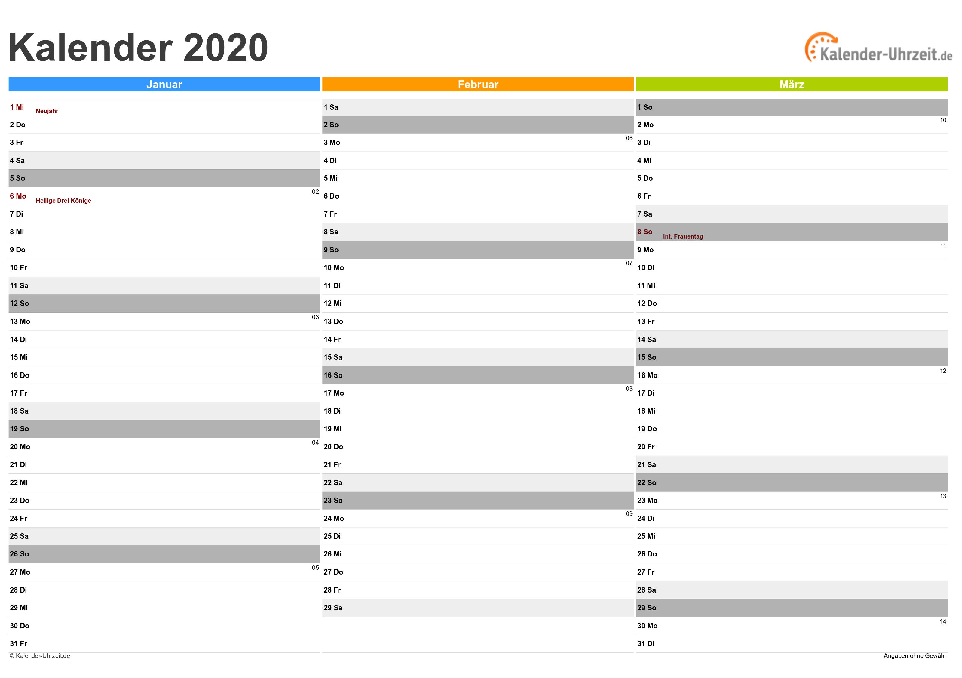 EXCEL-KALENDER 2020 - KOSTENLOS