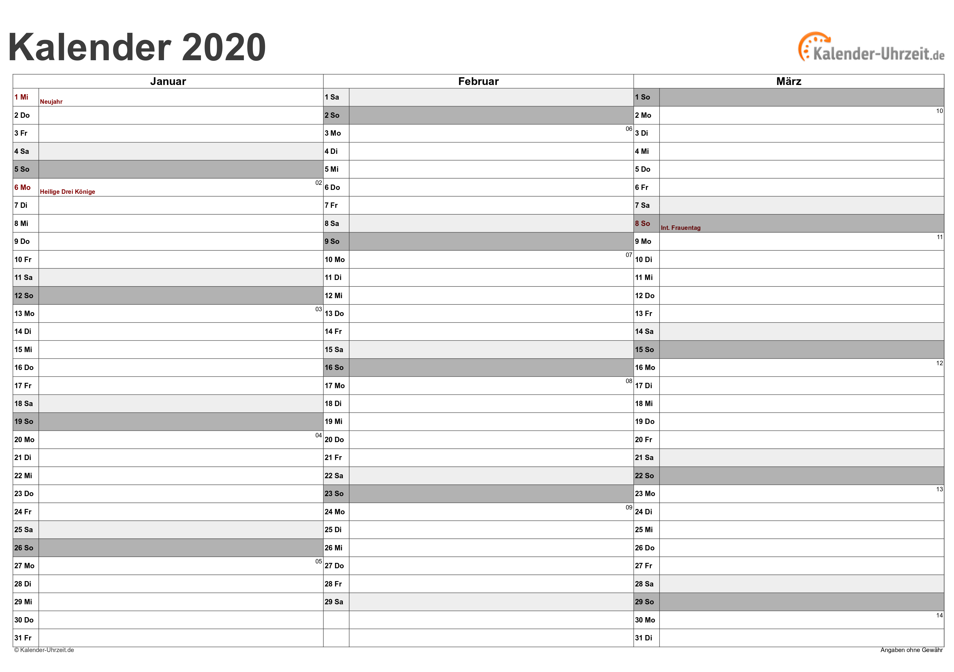 Monatskalender 2020 Schweiz Excel Pdf Kostenlos Downloaden