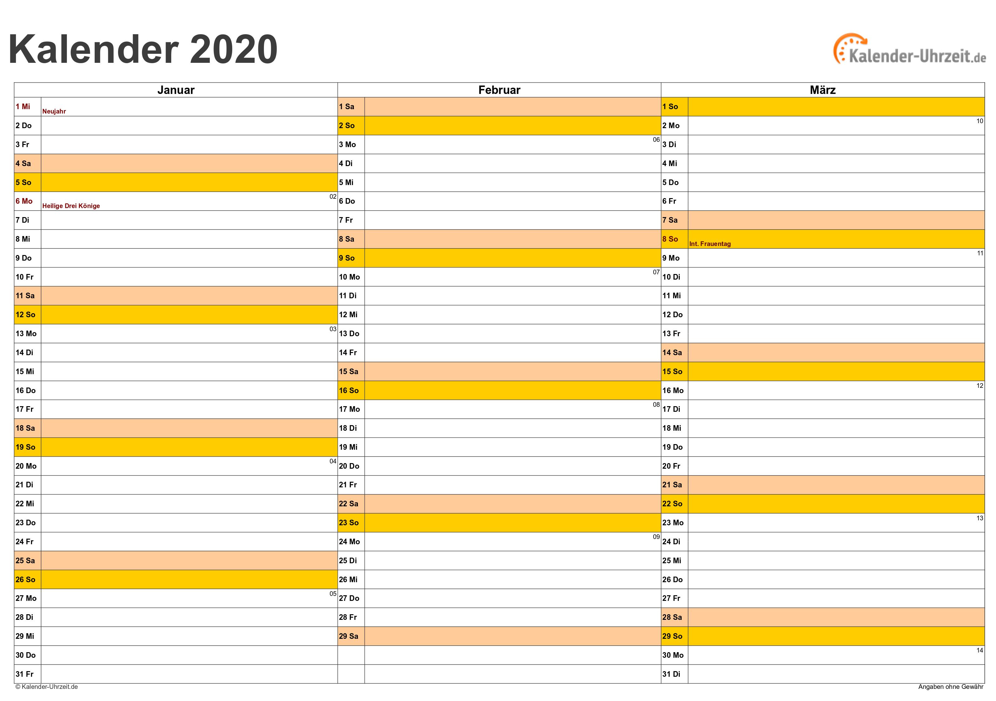 Kalender 2020 Zum Ausdrucken Kostenlos