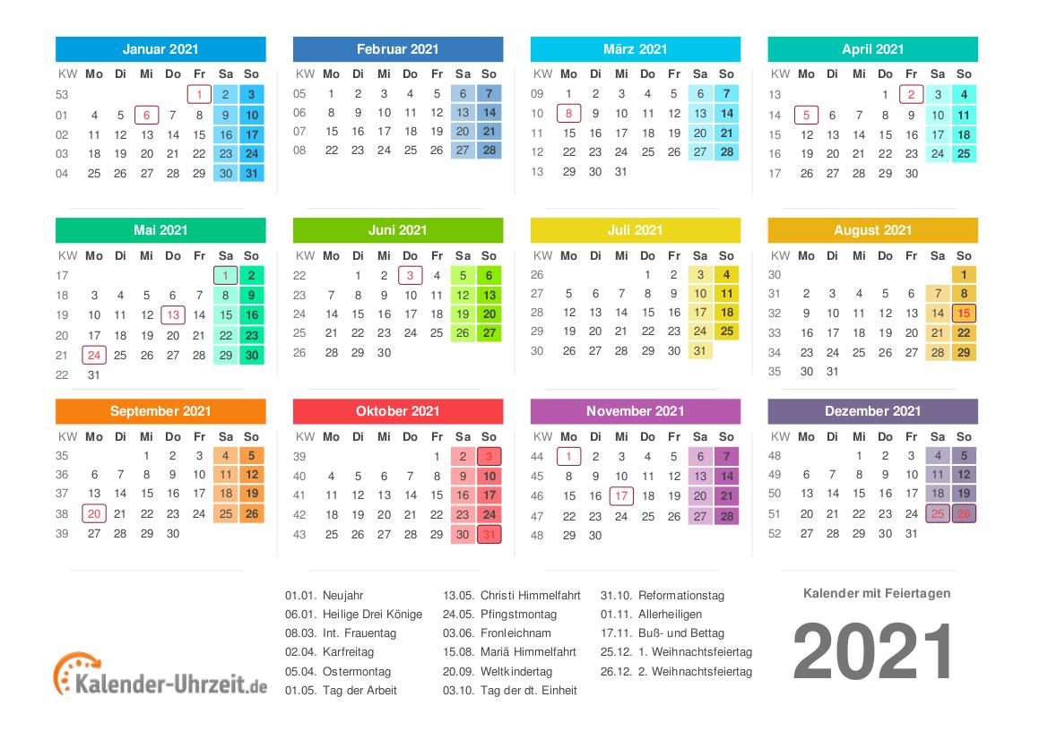 Kalender 2021 mit Feiertagen