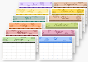 Monatskalender 2016 zum Ausdrucken - A5-Format - Vorlage 1