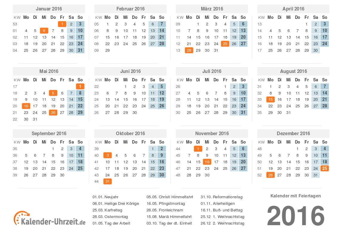 Kalender 2016 zum Ausdrucken - KOSTENLOSE PDF-Vorlagen