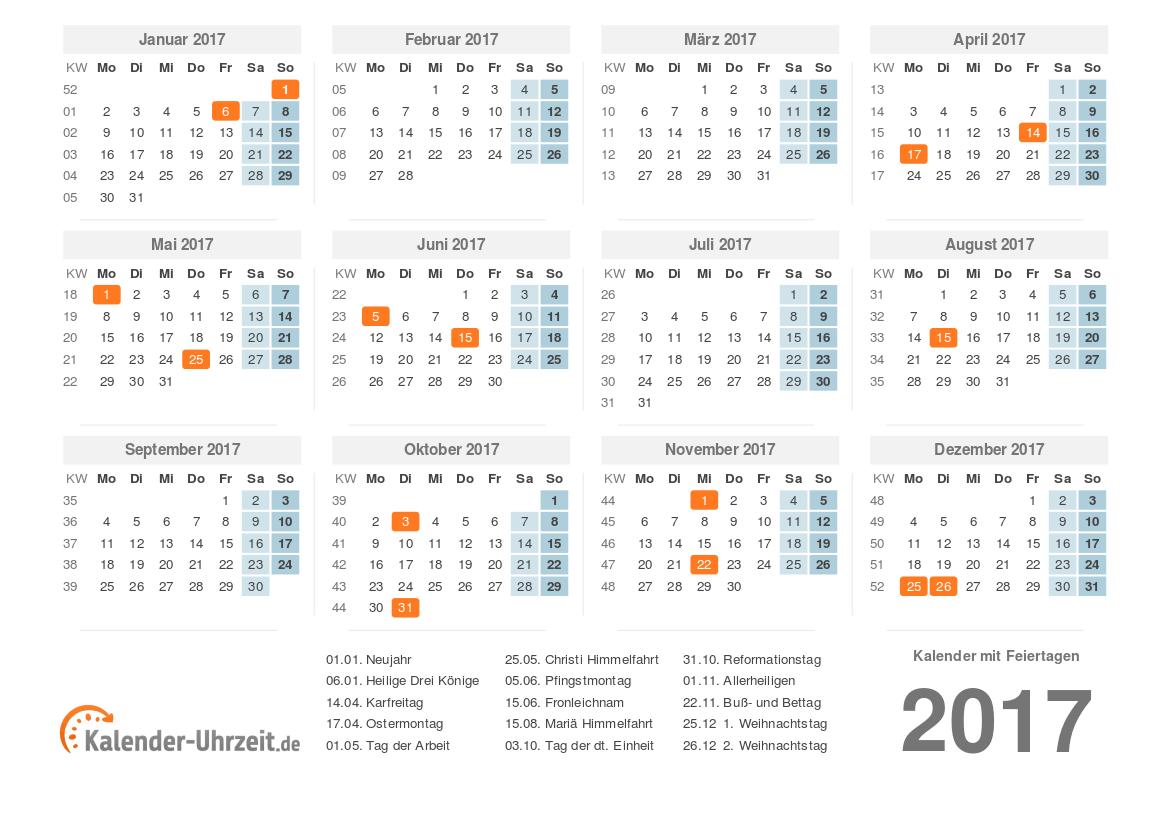 Kalender 2017 mit Feiertage-Übersicht zum Ausdrucken Vorlage 1