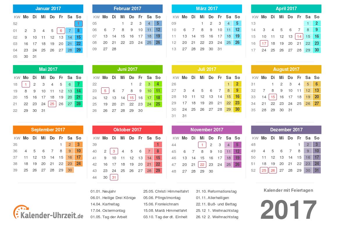 Kalender 2017 mit Feiertage-Übersicht zum Ausdrucken Vorlage 2