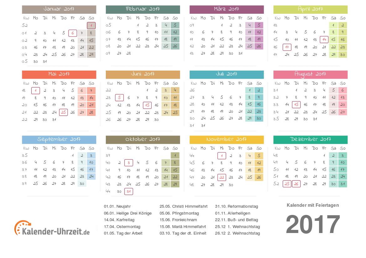 Kalender 2017 mit Feiertage-Übersicht zum Ausdrucken Vorlage 3