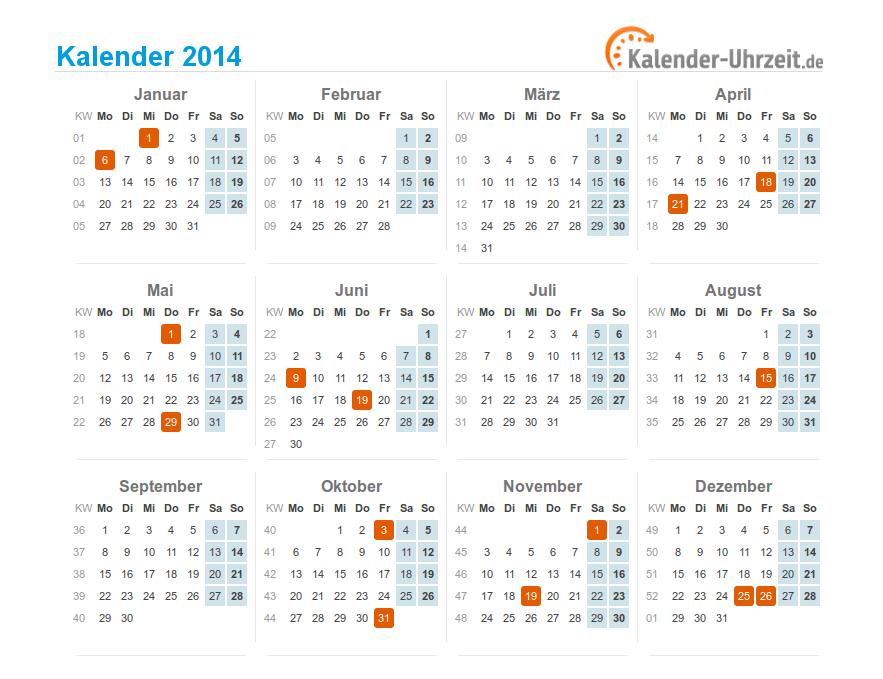 Gesetzliche Feiertage 2014 im Kalender zum Downloaden