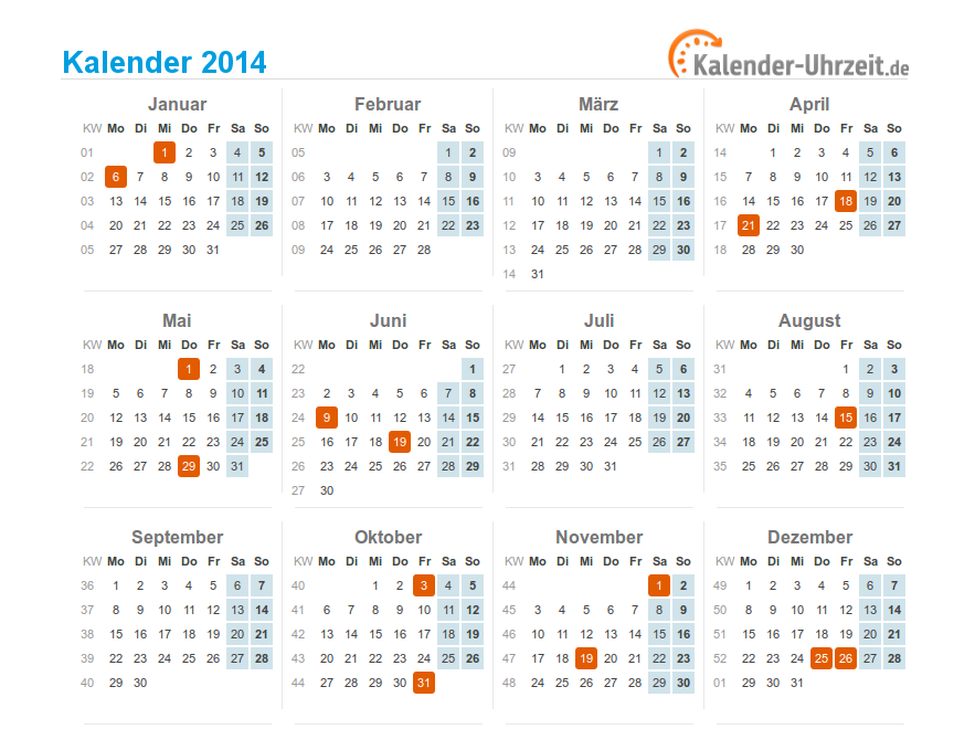 kalender 2014 mit feiertagen. Black Bedroom Furniture Sets. Home Design Ideas