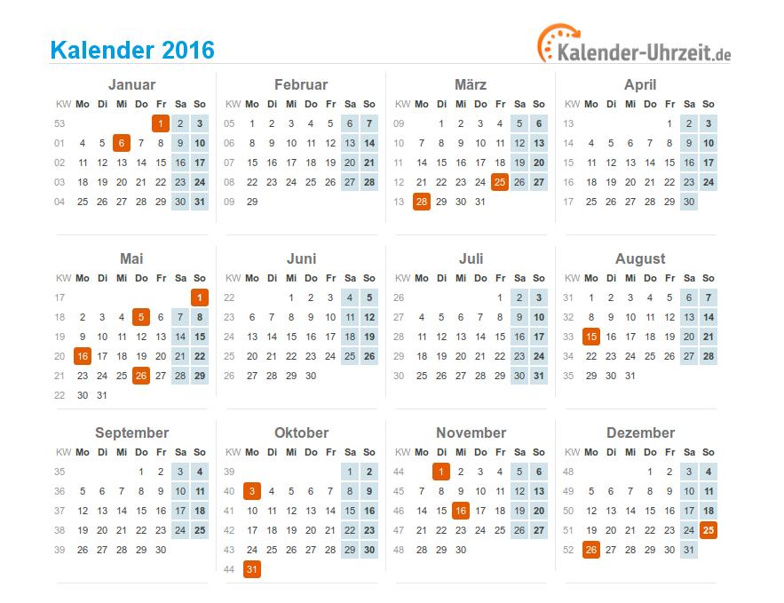 2016 kalender feiertage. Black Bedroom Furniture Sets. Home Design Ideas