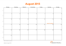 Kalender August 2015 mit Feiertagen
