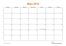 Kalender März 2015 mit Feiertagen