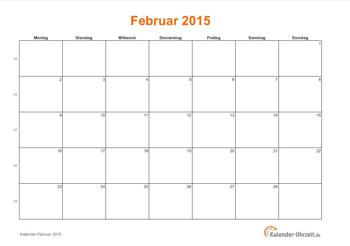 februar 2015 kalender mit feiertagen