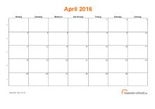 Kalender April 2016 mit Feiertagen