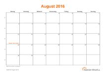 Kalender August 2016 mit Feiertagen