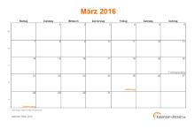 Kalender März 2016 mit Feiertagen