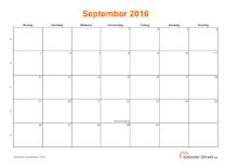 Kalender September 2016 mit Feiertagen