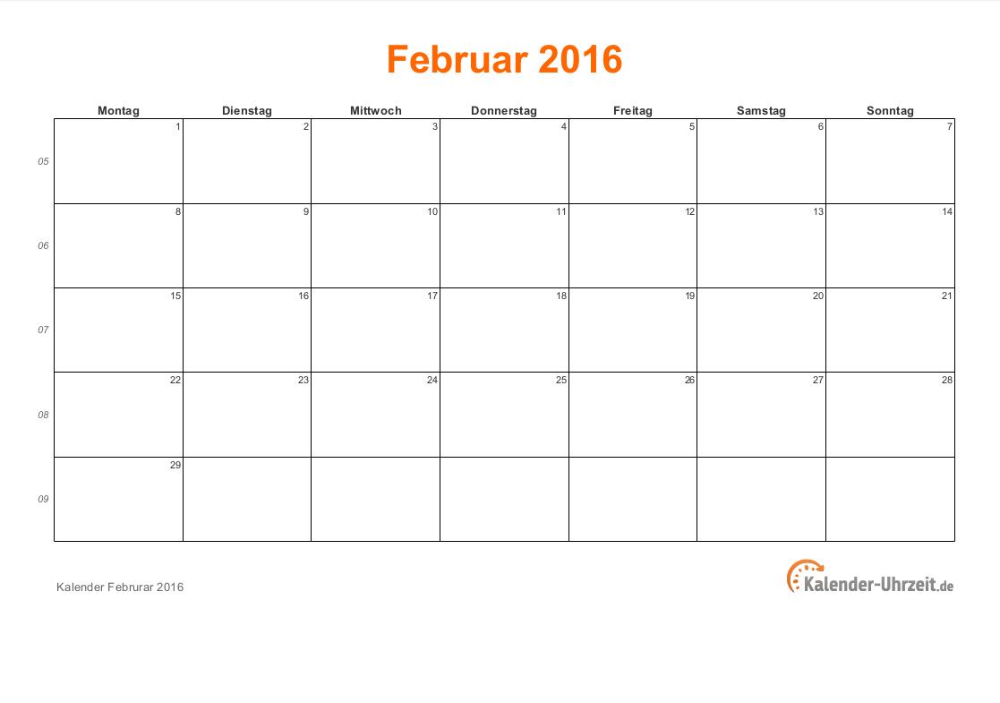 februar 2016 kalender mit feiertagen. Black Bedroom Furniture Sets. Home Design Ideas