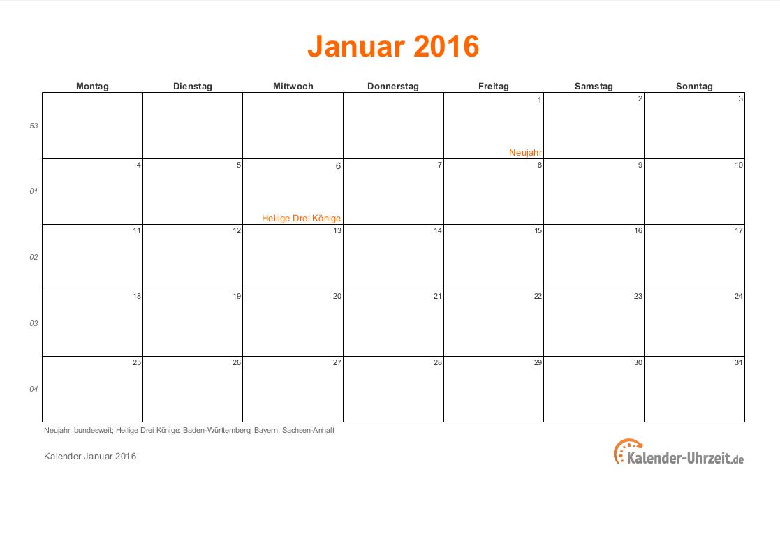 januar 2016 kalender mit feiertagen. Black Bedroom Furniture Sets. Home Design Ideas