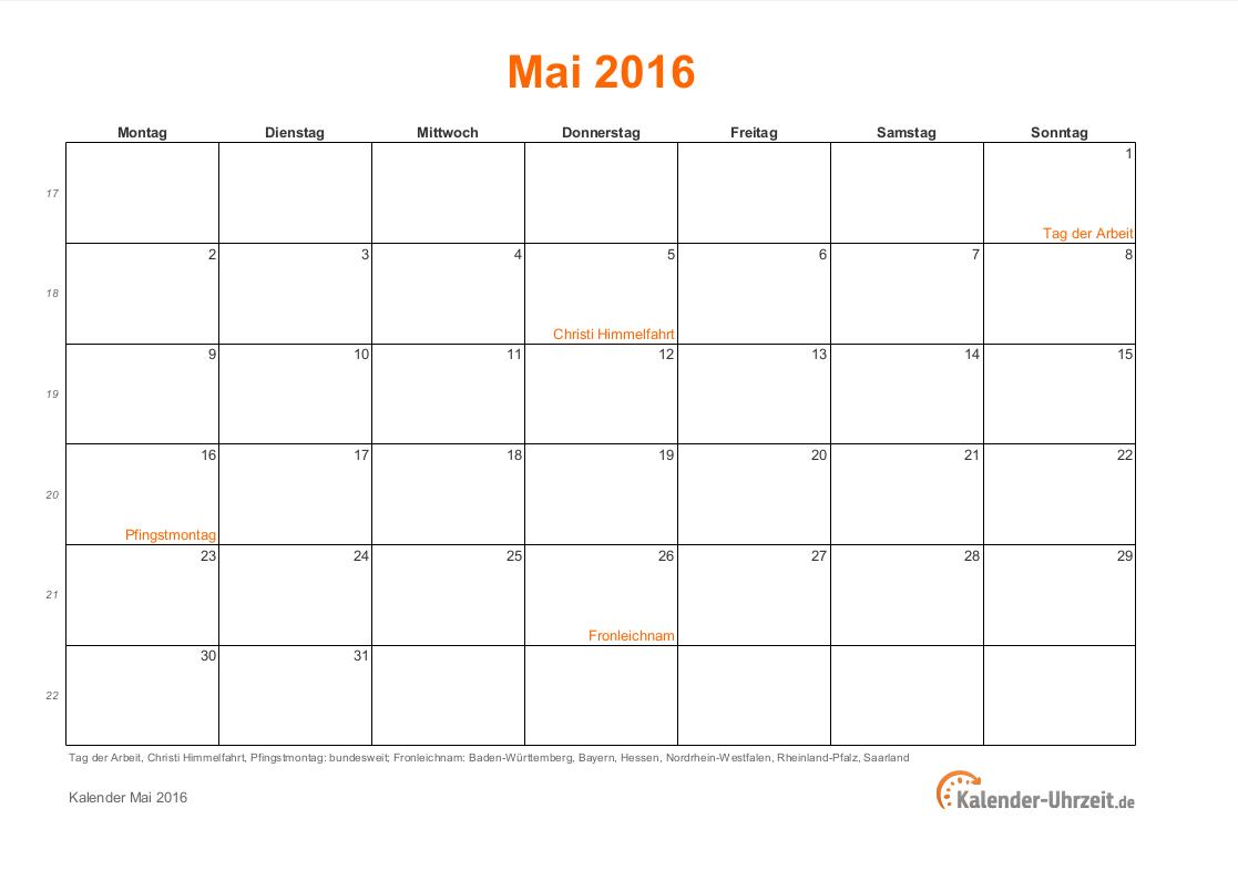 mai 2016 kalender mit feiertagen. Black Bedroom Furniture Sets. Home Design Ideas