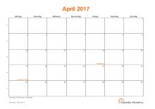 Kalender April 2017 mit Feiertagen