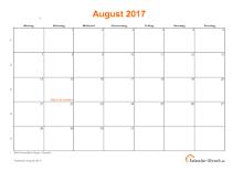Kalender August 2017 mit Feiertagen
