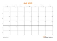 Kalender Juli 2017 mit Feiertagen