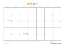 Kalender Juni 2017 mit Feiertagen