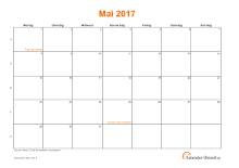 Kalender Mai 2017 mit Feiertagen
