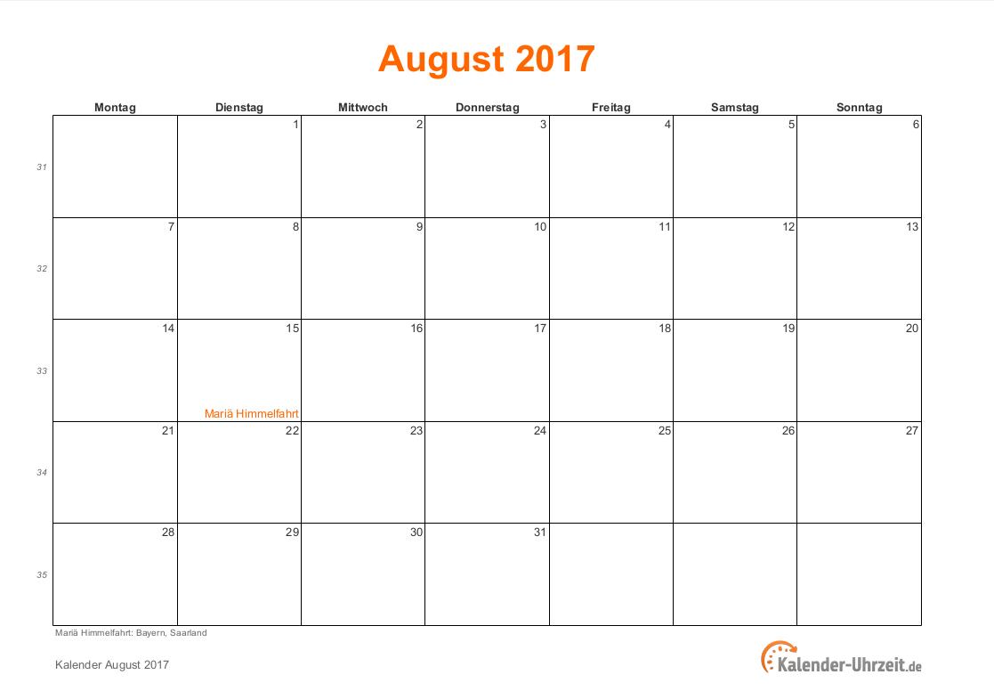 august 2017 kalender mit feiertagen. Black Bedroom Furniture Sets. Home Design Ideas
