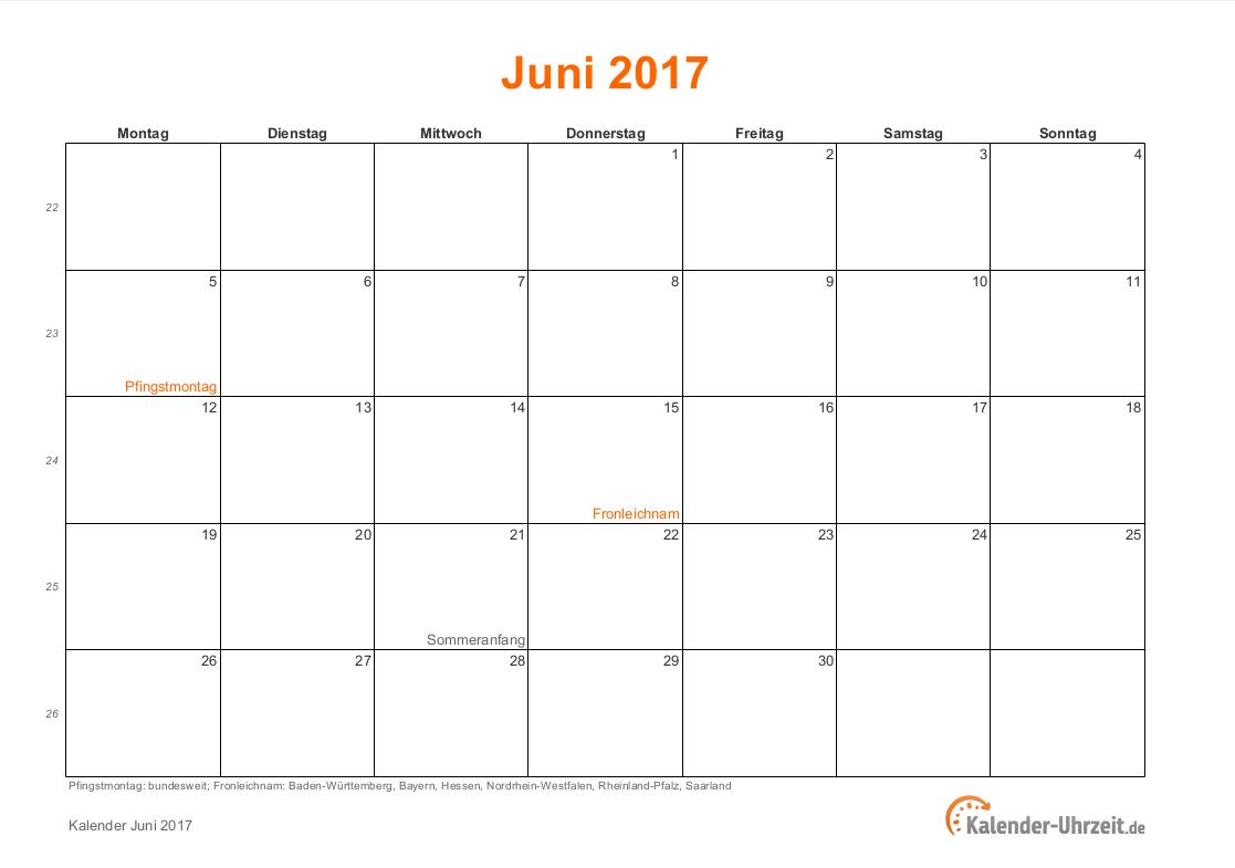 Kalender Juni 2017 Zum Ausdrucken : juni 2017 kalender mit feiertagen ~ Whattoseeinmadrid.com Haus und Dekorationen