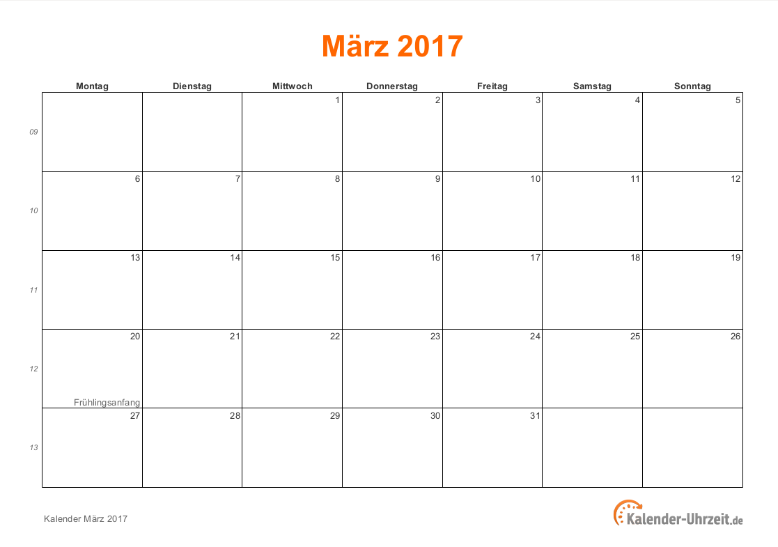 Kalender März 2017 mit