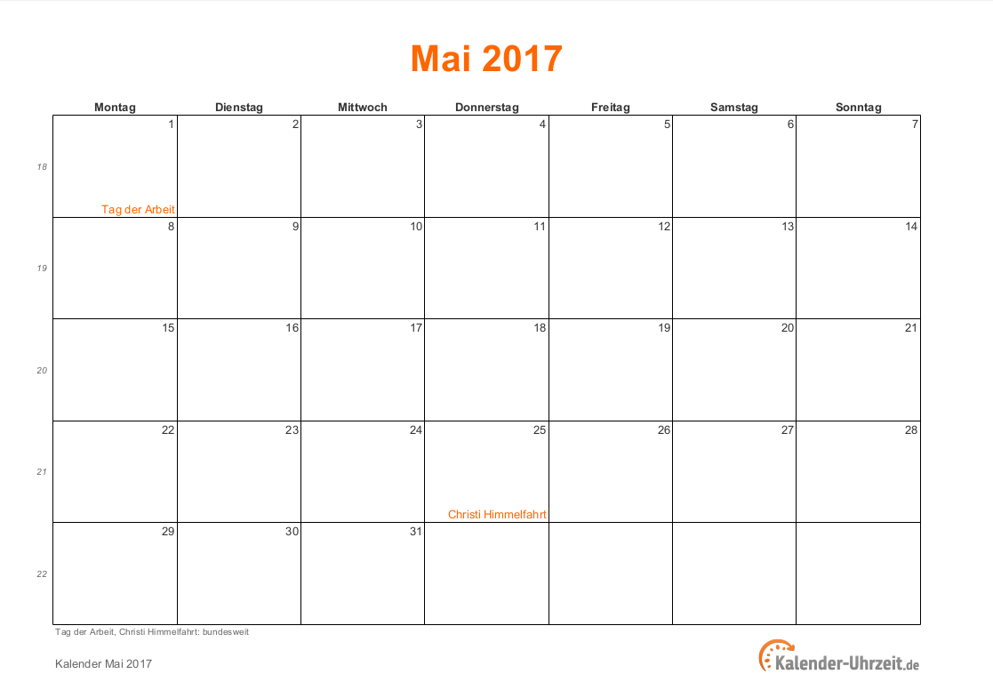 mai 2017 kalender mit feiertagen. Black Bedroom Furniture Sets. Home Design Ideas