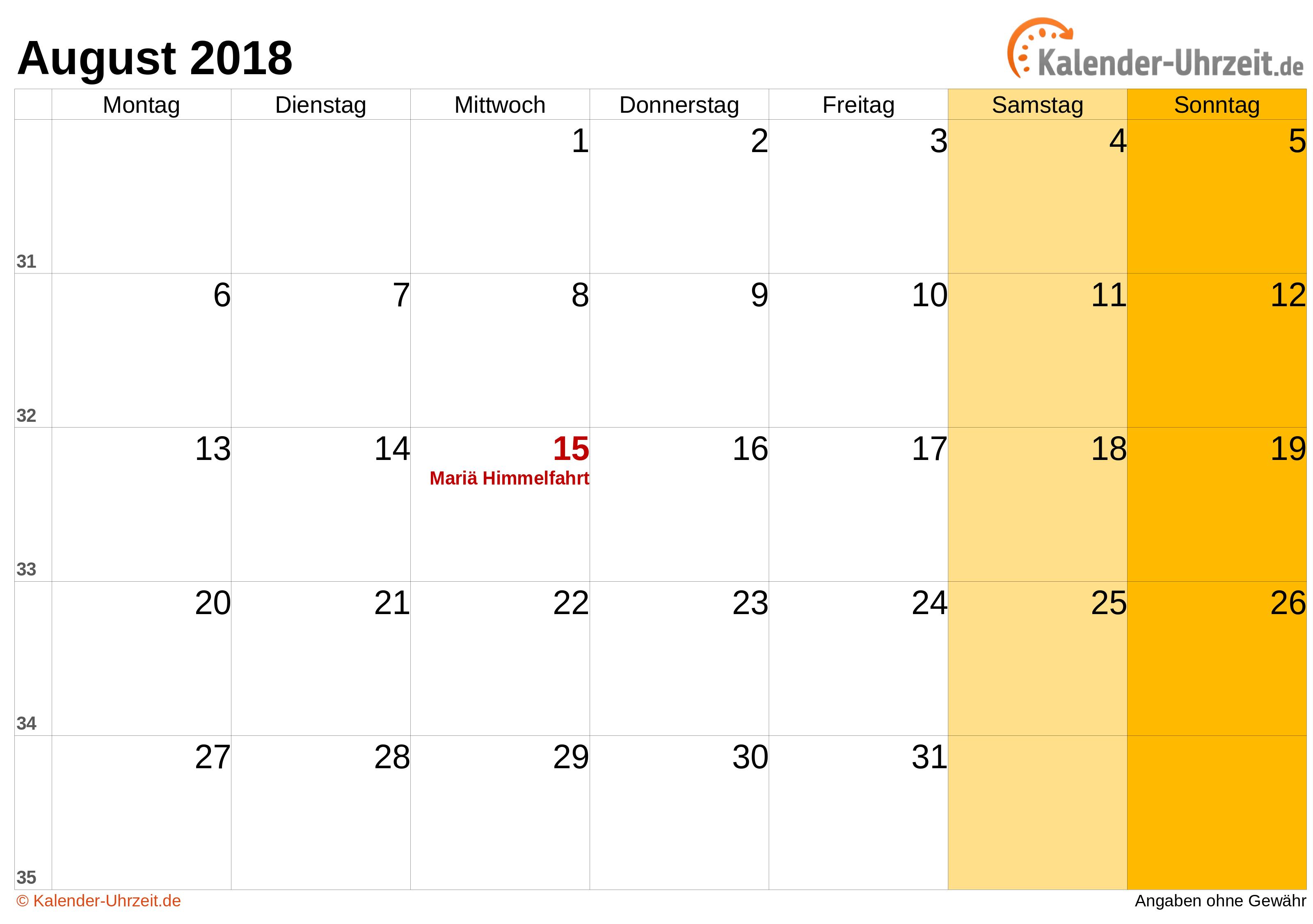 Kalender August 2018 mit Feiertagen