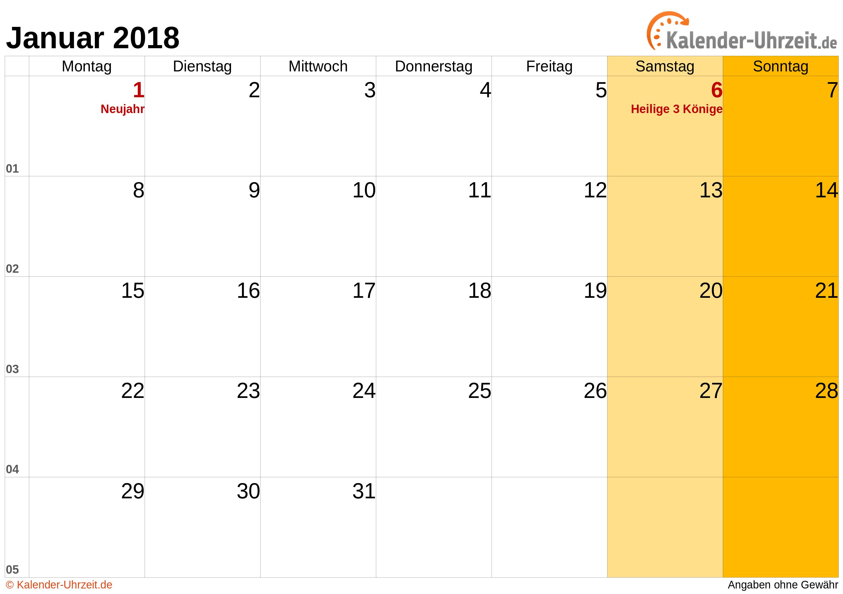 Kalender Januar 2018 mit Feiertagen